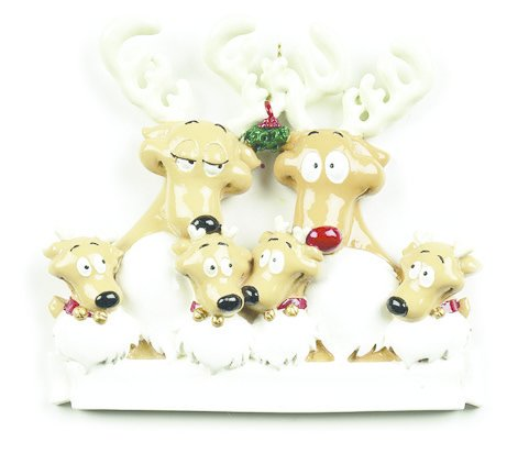 REINDEER FAMILY OF 6 PERSONALIZED ORNAMENT