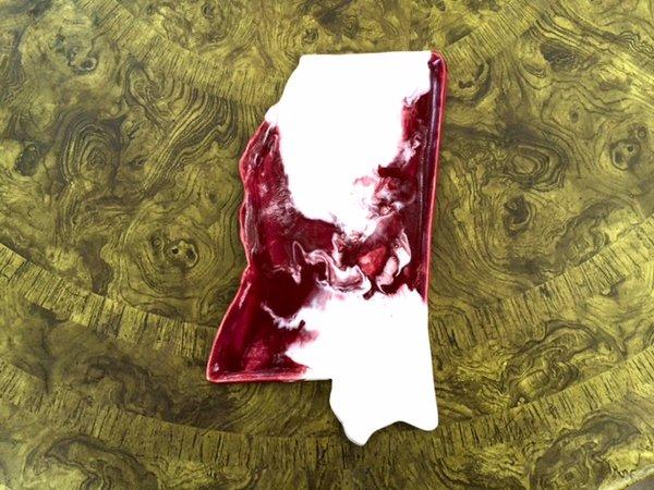 Mississippi Platter (large) - MSU colors