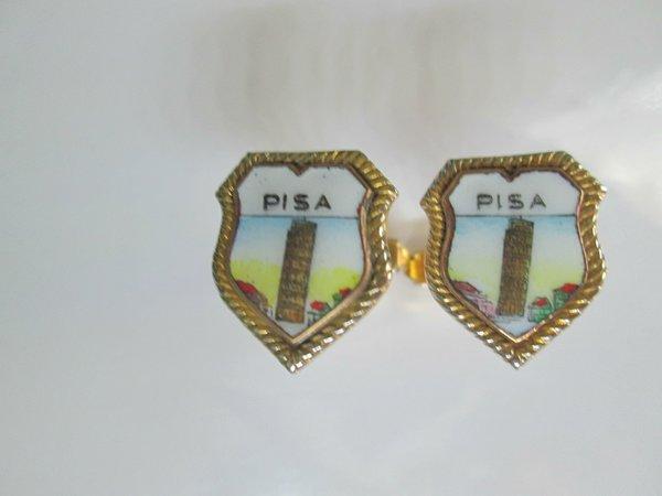 Enamel Pisa Vintage Cufflinks. Collectible Travel Cufflinks.