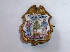Small Antique Enamel Maine Crest Pin. Dirigo Maine Crest.