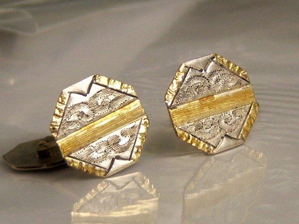 Vintage Cufflinks. Gold Plated Octogon Cufflinks.