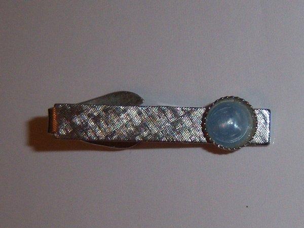 Blue Lucite Stone Vintage Tie Clip.