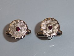 Small Vintage Cufflinks With A Red Stone.
