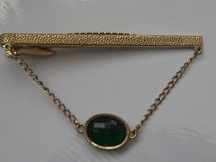 Signed Vintage Tie Clip With Green Faceted Stone.