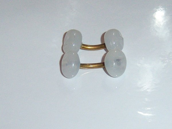 Small White Glass Antique Cuff Links