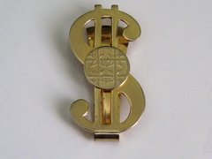 Vintage Money Clip. Dollar Sign With Disc Money Clip.