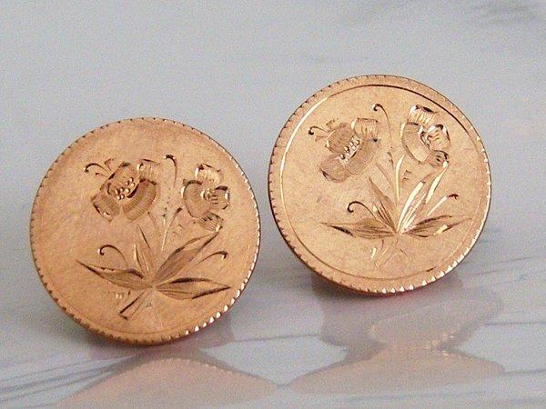Round Floral Design Button Back Antique Cufflinks