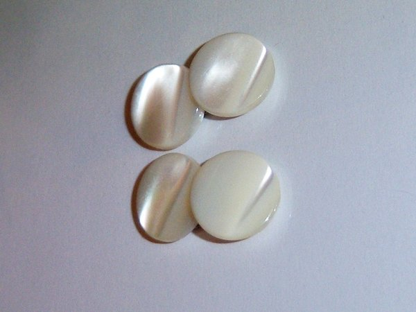 Vintage Mother Of Pearl Button Style Shell Cuff Links.