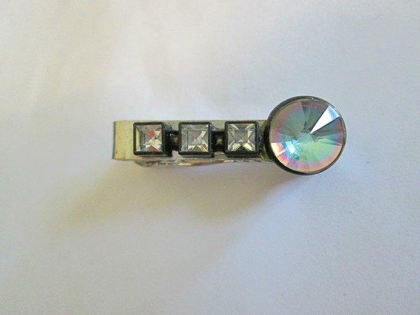 Small Vintage Tie Clip With Dazzle Stone. Signed.