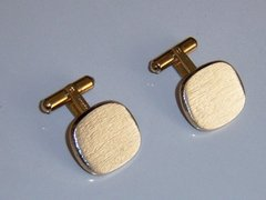 Signed Vintage Sterling Silver Cufflinks. Brushed Silver Cufflinks.
