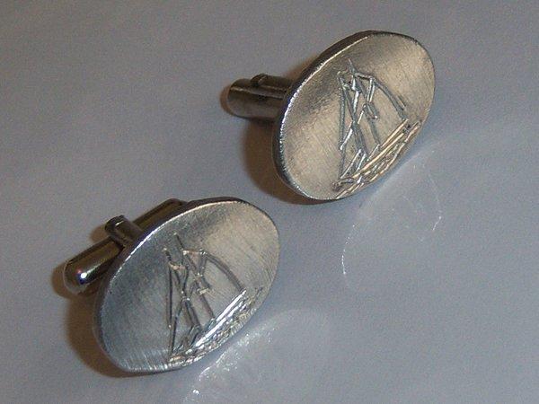 Unique Cufflinks. Hand Made Schooner Ship Vintage Cufflinks.