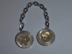 Clear Lucite Vintage Blazer Vest Button Chain