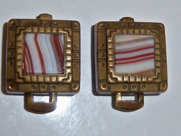 Antique Cufflinks. Clip Back Brass With Banded Centers.