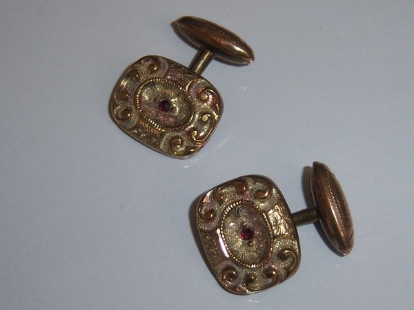 Antique Cufflinks. HA & CO Red Stone Cufflinks.