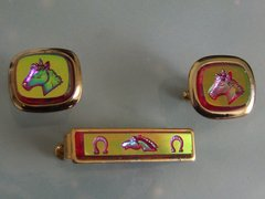 Vintage Equestrian Horse Racing Cufflinks. Horse Cuff Links. Set 2.