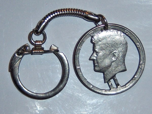 Vintage Key Chain. Kennedy Half Dollar Key Chain.