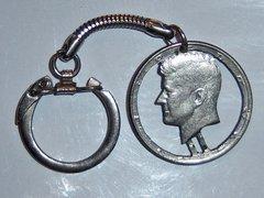Vintage Key Chain. Kennedy Half Dollar Key Chain.