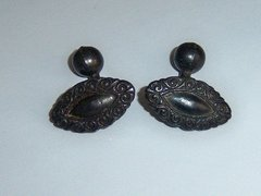 Small Black Scroll Design Antique Cufflinks