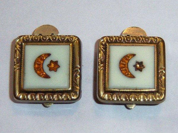Trademark Clip Moon Star Antique Victorian Cufflinks.