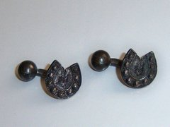Antique Cufflinks. Black Horseshoe Cufflinks. Western Cufflinks.