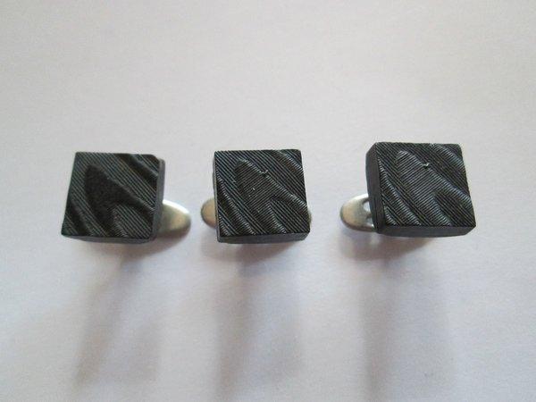 Small Art Deco Black Shirt Studs. French.