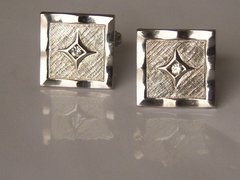 Vintage Cufflinks. Picture Frame Cufflinks With Clear Stones.