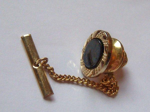 Black Oval Vintage Tie Tack On Gold Tone.