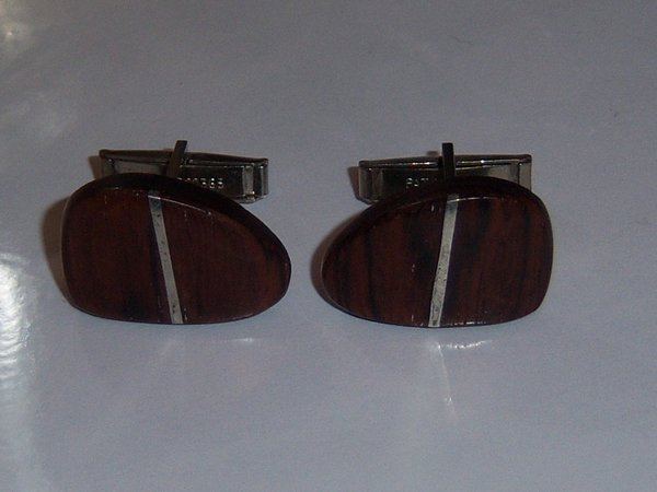 Unique Vintage Cuff Links. Wooden With Metal Stripe.