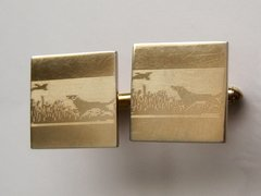 Signed Hunting Dog Vintage Cufflinks