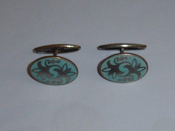 Light Green Art Deco Russian Cufflinks