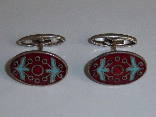 Red Enamel Russian Vintage Cufflinks. Abstract Folk Cufflinks.