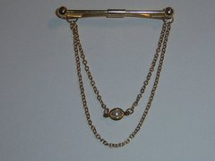 Vintage Collar Clip. Caged Faux Pearl With Chains.