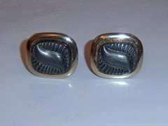 Abstract Vintage Cufflinks. Grey On Gold Tone.