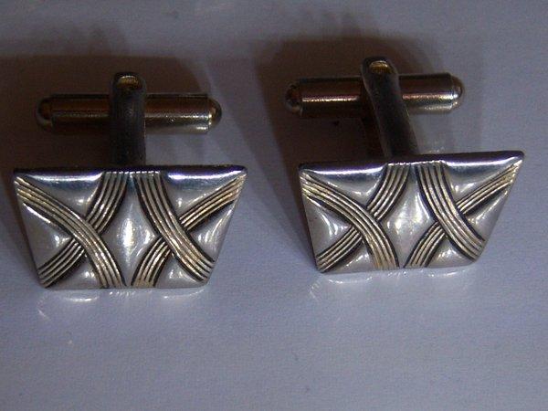 Vintage X Cufflinks. Silver Tone With Gold Tone Double X Cufflinks.