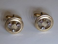 Vintage Silver Cufflinks. Signed Steering Wheel Cufflinks.