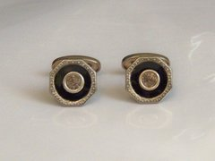 Art Deco Traditional Cufflinks. Black Octogon.