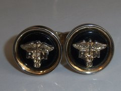Vintage Cufflinks. R.N. Caduceus Nursing Cufflinks. Black.