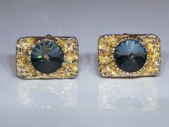 Chunky Vintage Cufflinks. Nugget Look Cufflinks With Faceted Blue Stone.