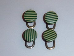 Small Art Deco French Shirt Studs. Green Shirt Studs.