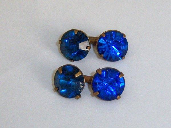 Vintage Two Colour Blue Glass Stone Russian Cufflinks. USSR Cufflinks.