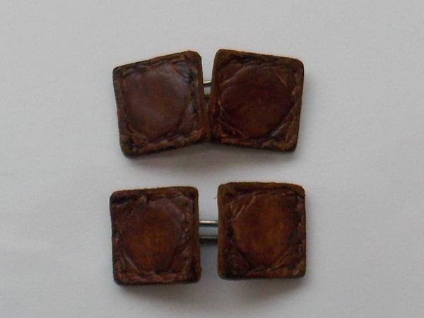 Vintage Rich Brown Leather Cufflinks