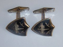 Silver Cufflinks. Siam Silver Shield Traditional Cufflinks.
