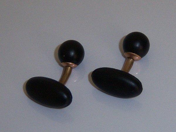 Antique Victorian Era Cufflinks. Black Antique Cuff Links.