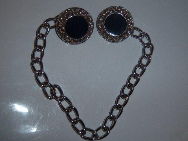 Dark Blue Vintage Blazer/Vest Button Chain