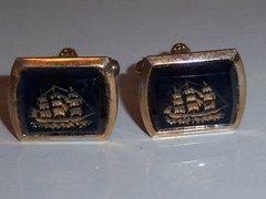 Cobalt Blue Clipper Ship Nautical Vintage Cufflinks