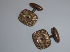 Antique Cufflinks. HA & CO Red Stone Cufflinks.