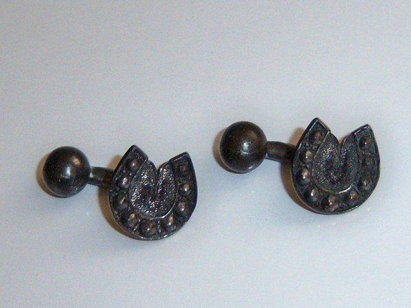 Antique Cufflinks. Black Horseshoe Cufflinks. Western Cufflinks.