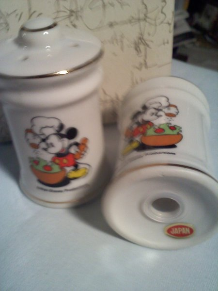 Walt Disney Productions Mickey Mouse Salt And Pepper Shakers