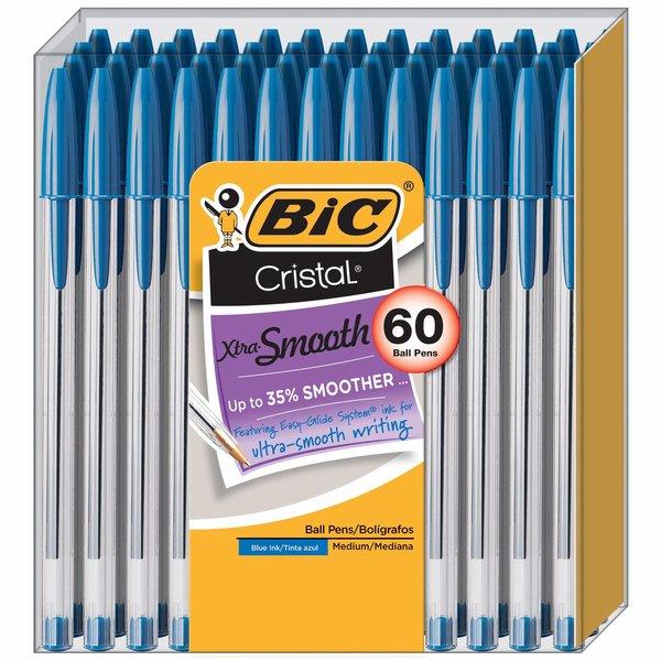 BIC Cristal Stick Xtra-Smooth Medium Ballpoint Pens, 60 ct. - Assorted