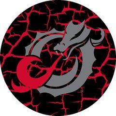 MSUM Grey Dragon Cracks 4 on Black Sandstone Car Coaster
